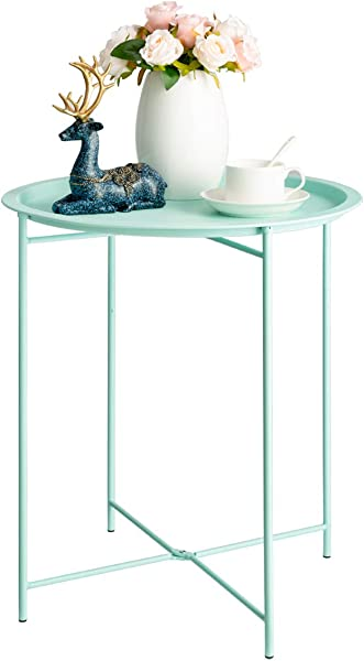 HollyHOME Folding Tray Metal Side Table Sofa Table Small Round End Tables Anti Rust And Waterproof Outdoor Or Indoor Snack Table Accent Coffee Table H 20 28 X D 18 11 Blue