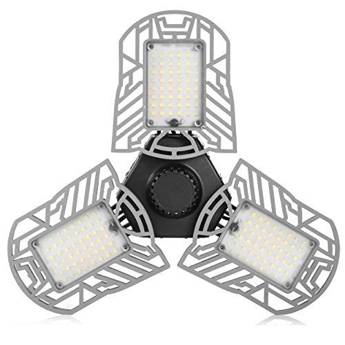 Garage Lights, LED Deformable Garage Light, 6000LM, 60W Ultra-Bright Shop Lightning with 3 Adjustable Panels, Garage Ceiling Light for Workshop