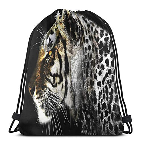 YUDILINSA Beutel Rucksack Kordelzug Turnbeutel,Jaguar Leopard Fractal Artwork,Unisex Sportbeutel Kordelzug Rucksack für Sport,Outdoor und Reisen