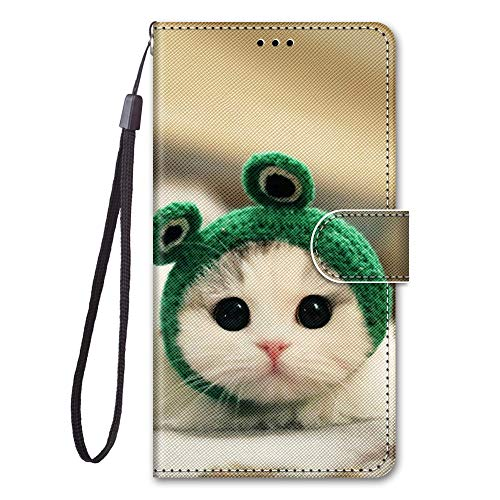 KimsCase for Samsung Galaxy Note 20 Ultra 4G 5G Case Leather Magnetic Notebook Kickstand Flip Animal Pattern Design Protective Pretty Cute Kawaii Dustproof Shockproof Bumper Funny Cover - Cat