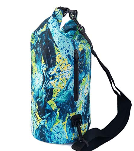 SNAILMAN Waterproof Dry Bag for Women Men, 10L Roll Top Lightweight Dry Storage Bag Backpack with Phone Zipper Pocket, Swimming, Boating, Kayaking, Camping and Beach (Graffiti, 10L)