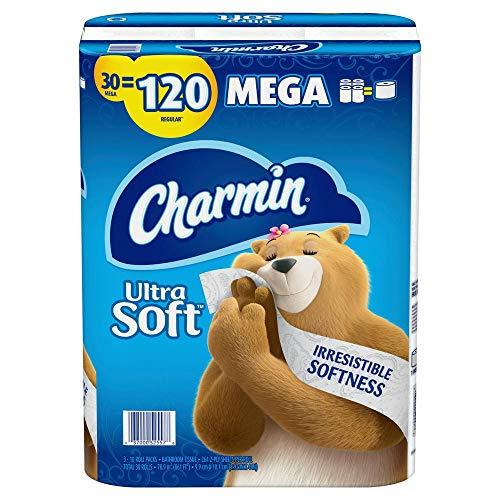 Charmin Ultra Soft Bathroom Tissue (30 Mega Rolls = 120 Regular Rolls) Toilet Paper