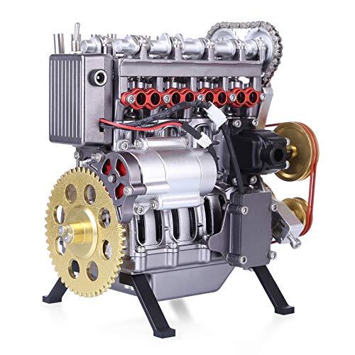 BOBX Motor Bausatz Metall, 364 Teilen DIY Reihen Zylinder 4-Takt Benzinmotor Modellbau Verbrennungsmotor Metall Motor Modell Miniature Motor für Kinder und Erwachsene