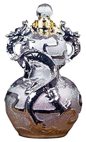 Steque Botella de Vino Pot Sake Set Flagon Flask Vino de cerámica Conjunto de vinos, Doble Dragon Play Bead Gourd Jarro, Jarra de Vino Sellado Matte Silver.Accesorios de Vino (Size : A)
