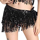 MUNAFIE Women's Belly Dance Hip Scarf Performance Outfits Skirt Festival Clothing Black,One Size