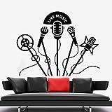 SONGWEOK Pegatinas de pared de vinilo micrófono retro club de karaoke pegatinas de pared calcomanías de música en vivo cartel de decoración de club de karaoke extraíble 73 cm x 57 cm