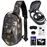 Oculus Quest 2 Case SARLAR Hard Chest Shoulder Backpack for Carrying Basic and Elite Version VR Gaming Headset and Touch Controllers Acessories, Bundled with in-Ear Phones & Lens Protect Cover.