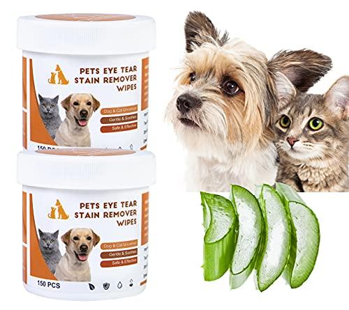 Hywean 300 Piezas de toallitas para Ojos de Perros, Toallitas Perro, Material Suave, Limpieza eficaz, Toallitas para Mascotas por Las Lágrimas de los Ojos de Las Mascotas