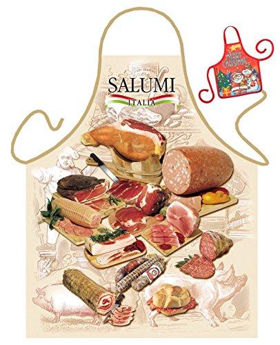 Tini - Shirts Wurst Salami Motiv Kochschürze Italien Italienischer Schinken Schürze : Salumi Italia - Weihnachtssgeschenk-Set - Deko Geschenk Flasche Weihnachten