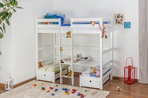 Kinderbett / Etagenbett / Funktionsbett Tim (umbaubar zu einem Tisch mit Bänken oder zu 2 Massivholzbetten) Buche massiv weiß lackiert, inkl. Rollrost - 90 x 200 cm