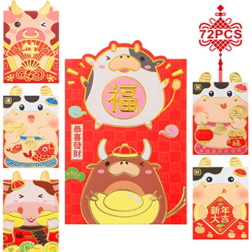108 Pieces Chinese New Year Red Envelopes Lucky Money Packets Cartoon OX Hong Bao for New Year 2021 OX Spring Festival Birthday Baby Present Wedding Graduation