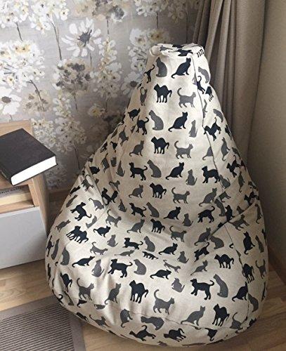 Sitzsack schwarze graue Katzen für Erwachsene und Kinder Leinen Bezug Natürliche Stoffe Sitzkissen Sessel Originelle Geschenkidee Mit Inenbezug OHNE FÜLLUNG