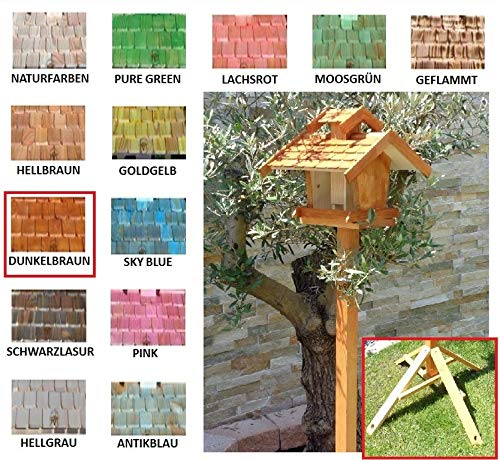 Vogelhaus+Ständer-Futterhaus-K-BEL-VOVIL4-MS-moos002 Großes PREMIUM-Qualität,Vogelhaus,KOMPLETT mit Ständer wetterfest lasiert, WETTERFEST, QUALITÄTS-Standfuß-aus 100% Vollholz, Holz Futterhaus für Vögel, MIT FUTTERSCHACHT Futtervorrat, Vogelfutter-Station Farbe grün moosgrün lindgrün natur/grün, Ausführung Naturholz MIT TIEFEM WETTERSCHUTZ-DACH für trockenes Futter - 4