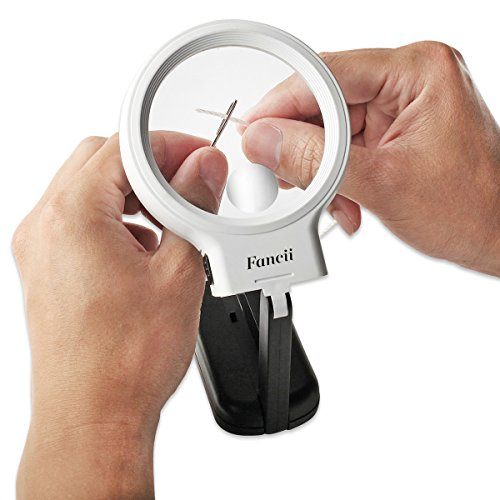 Fancii 10 LED Licht Beleuchtete Lupe mit Ständer, 2X 4X Große Leselupe Tischlupe Vergrößerungsglas mit Beleuchtung für Senioren Lesen, Inspektion, Löten, Handarbeiten, Reparatur & Hobby - 4