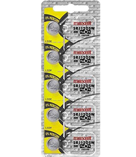 Maxell Batteries SR1120SW (381) Silver Oxide Watch Battery. On Tear Strip (Pack of 5)