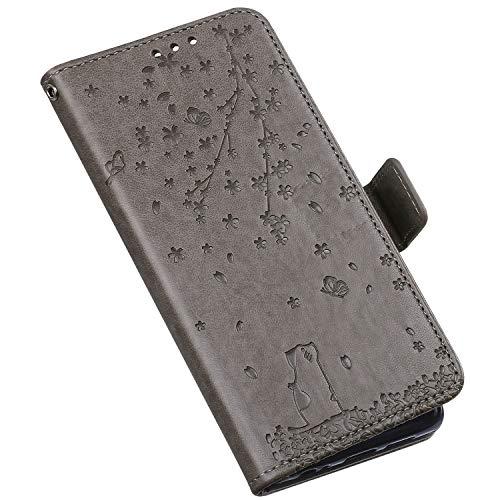 QPOLLY Coque Compatible avec iPhone 6/6S Étui à Rabat, Mignon Chat Fleurs Imprimé Design Portefeuille Cuir PU Flip Bookstyle Carte de Crédit Case Leather PU Housse Étui de Protection,Gris
