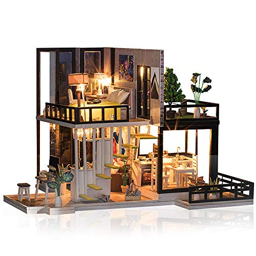 moin moin ドールハウス ミニチュア 手作りキット セット 芝生の 広いベランダ 二階建て 現代モダン LEDライト + オルゴール + アクリルケース