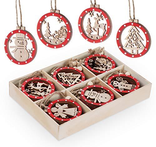 Sweelov Lot de 30 décorations pour sapin de Noël en bois, 6 cm, rouge et beige, décorations rondes et ajourées à suspendre, motif renne
