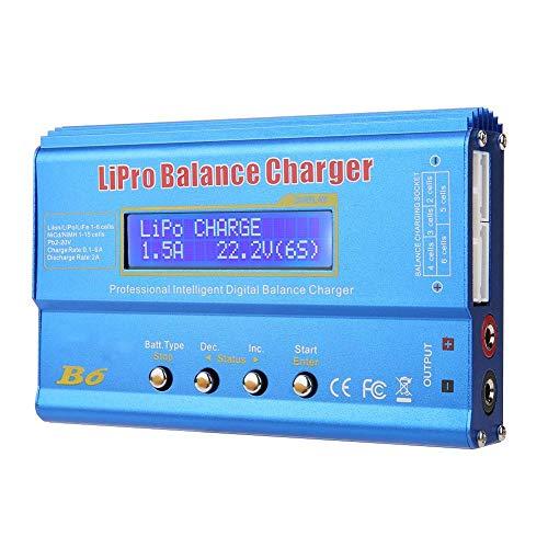 RC Balance Ladegerät, Mini Professional Balance Ladegerät B6 80W Digital LCD Balance Ladegerät Entlader für LLiPo NiMH RC Akku (Blau)(1#)