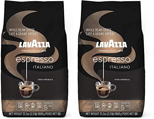 Lavazza Caffe Espresso 100% Premium Arabic Whole Bean Coffee (2.2 lbs) - Pack of 2