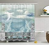 gwegvhvg Mystic House Decor Collection Balkon im Himmel mit Engel Statuen Prinzessin Schloss Viktorianischen Stil ArchitekturBad Duschvorhang e blau weiß