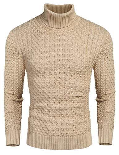 COOFANDY Men's Slim Fit Turtleneck Sweater Casual Knitted Twisted Pullover Solid Sweaters Khaki