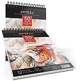 Arteza Blocco da Disegno Professionale Arteza 20,3x25,4 cm, Set da 2 Pezzi, Album Spiralato da 50 Fogli 130g/m², Carta Bianca, Ideale Per Tecniche a Secco per Principianti ed Esperti