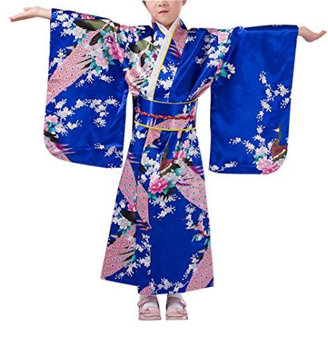 KRUIHAN Niños Yukata Vendimia Estilo Japones - Niña Kimono Tradicional Ropa Seda Tela Túnica Desgaste Boda Partido Actuación Vestido Azul Real 140CM