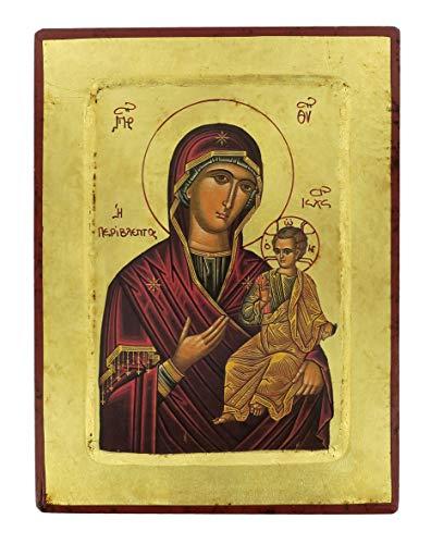 Ferrari & Arrighetti Icona Madonna con Il Bambino, Produzione Greca su Legno - 24 x 18 cm