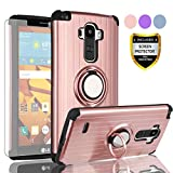 AYMECL LG G Stylo Phone Case,LG G4 Stylus Case with HD Screen Protector,(Not Fit LG G4) 360 Degree Rotating Ring Holder Travel Case Scratchproof Cover for LG LS770-SH Rose Gold