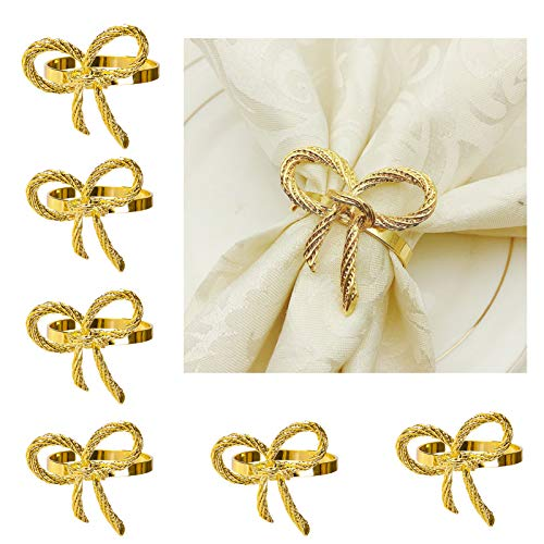 ButterflyNapkins Rings Set of 6, Gold Napkin Rings Holder for Wedding Christmas Family Gathering Table Decoration.