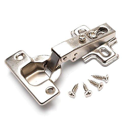 Bulk Hardware Bh05745 Scharnier für Küchenschrank/Kleiderschrank, Frontrahmen, vorliegender Anschlag, Clip-Befestigung, verzinkt,35mm,95Grad,2Stück, weiß, BH05746