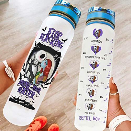 Hothotvery Botella deportiva impresa Anime Jack Albtraum Amor Marcas Botella deportiva sin BPA 1L Botella de agua sostenible para camping blanco 4 1000 ml