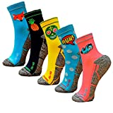 HOOPOE Pack Calcetines Running Mix, 5 Pares, Hombres, Mujer, Divertidos, Foxblue, Skully, Comic, Pineapple, Lazy, Talla 41-45