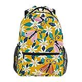 花の花蝶ショルダー バックパック 学生 ブックバッグ 旅行 キッド ガールズ ボーイズ用