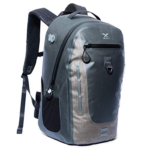 XELFLY 18L Submersipack Waterproof Backpack - Submersible, Inflatable, Floating TPU Coated Durable Nylon Dry Bag with Airtight Zipper for Kayak, Fishing, Boating, Hiking, Paddle Board, Gray Stone, 18L