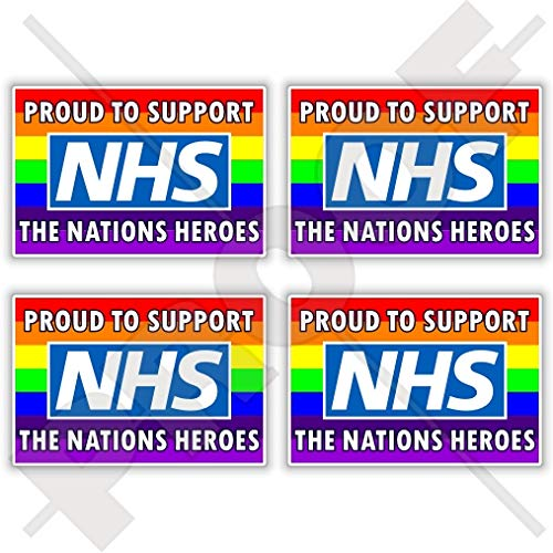 NHS Proud to Support The Nations Heroes Rainbow Vinyl Stickers 115mm Key Workers COVID Coronavirus SELF ISOLATING Quarantine Virus Isolation x2 Decals