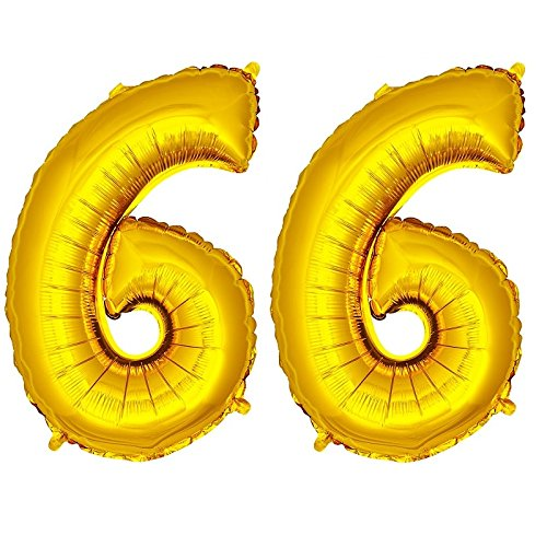 DekoRex® Folienballon Zahlenballon Luftballon Geburtstag Deko 80cm Zahl Gold 66