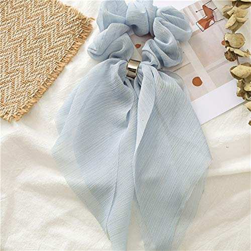 yywl Headband 2019 New Sweet Chiffon Long Ribbon Scrunchie Candy Color Women Hair Scarf Hairband Rubber Band Girls Hair Tie (Color : Blue)