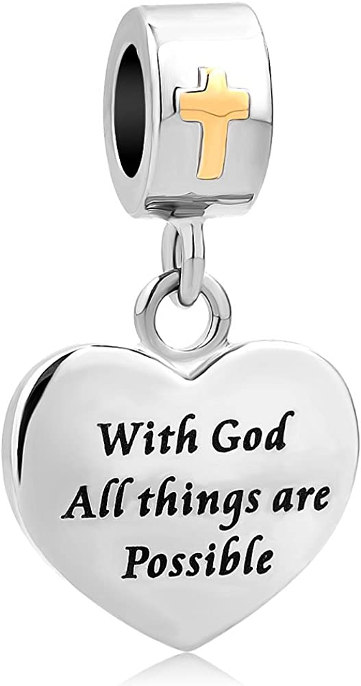 LovelyCharms Cross Charm with God All Things are Possible Religious Dangle Bead Fits European Bracelets