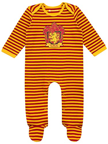 HARRY POTTER Pijama Entera con Babero para Niños Bebés Gryffindor Multicolor 0-3 Meses