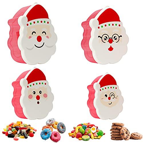 KAMEUN Recipientes para Alimentos 4 en 1, Cajas de Regalo Navidad con tapa, Cierre Hermético Loncheras Sin BPA, para Dulces, Pan de Jengibre, Fruta, Caja de Regalo de Navidad.