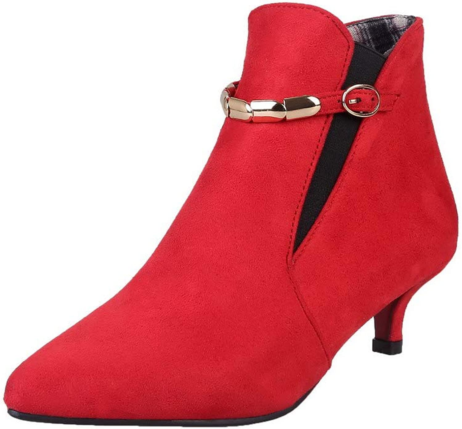 WeiPoot Women's Frosted Pointed-Toe Solid Low-Top Low-Heels Boots, EGHXH125455