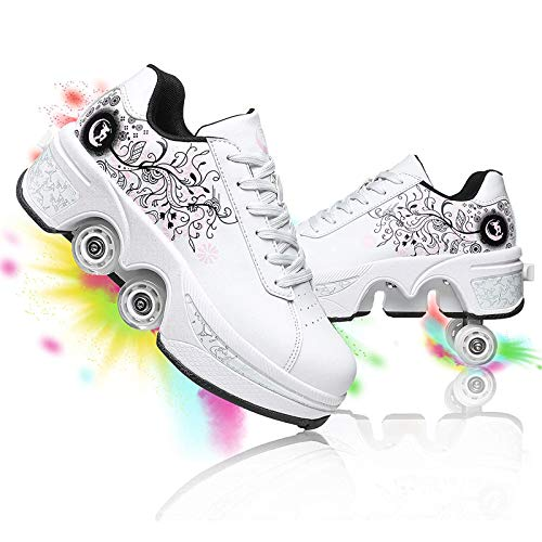 DUDUCHUN Patines De Ruedas para Mujer Zapatos de Polea de Deformación Ajustables Zapatos de Cuatro Ruedas Multiusos para Adultos Patinaje Interior y Exterior