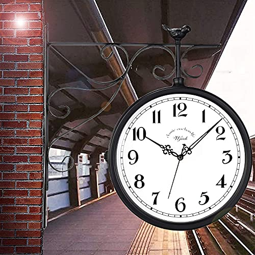 Outdoor Double Sided Clock Waterproof Hanging Clock for Patio, Garage, Outdoor Area Antique Thermometer Look Train Station Clock Two Sided Clock for Indoors/Outdoors
