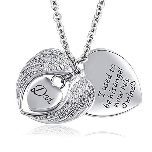Korliya Angel Wings Dad Heart Love Urn Necklace for Ashes Memorial Keepsake Pendant Cremation Jewellery