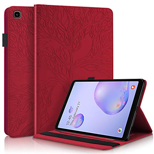 Blllue Funda para Samsung Galaxy Tab A 8.0 (SM-T290/SM-T295) 2019, Life Tree Slim Folio Stand Tablet Cover Cover para Samsung Tab A 8.0 pulgadas 2019, rojo