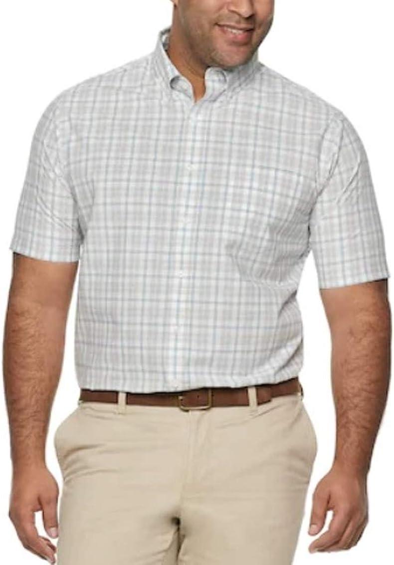 Croft & Barrow Mens Big Tall Classic Fit Short Sleeve Shirt Buttoned Down Grey