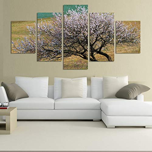 GVC 30X40X60X80 Natural Style Tree Modular HD Printed 5 Panel Flower Posters Home Decor Canvas Painting Wall Picture for Living Room