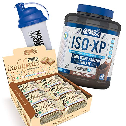Applied Nutrition Bundle ISO XP 100% Whey Protein Isolate Powder 2kg + Protein Indulgence High Protein Low Sugar Bar Box 12 x 50g + 700ml Shaker (ISO Chocolate + Birthday Cake Bars)
